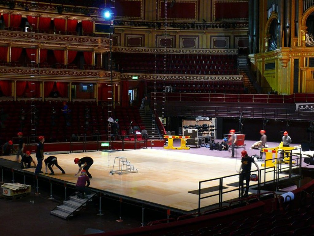 Harlequin stage building in historic buildings