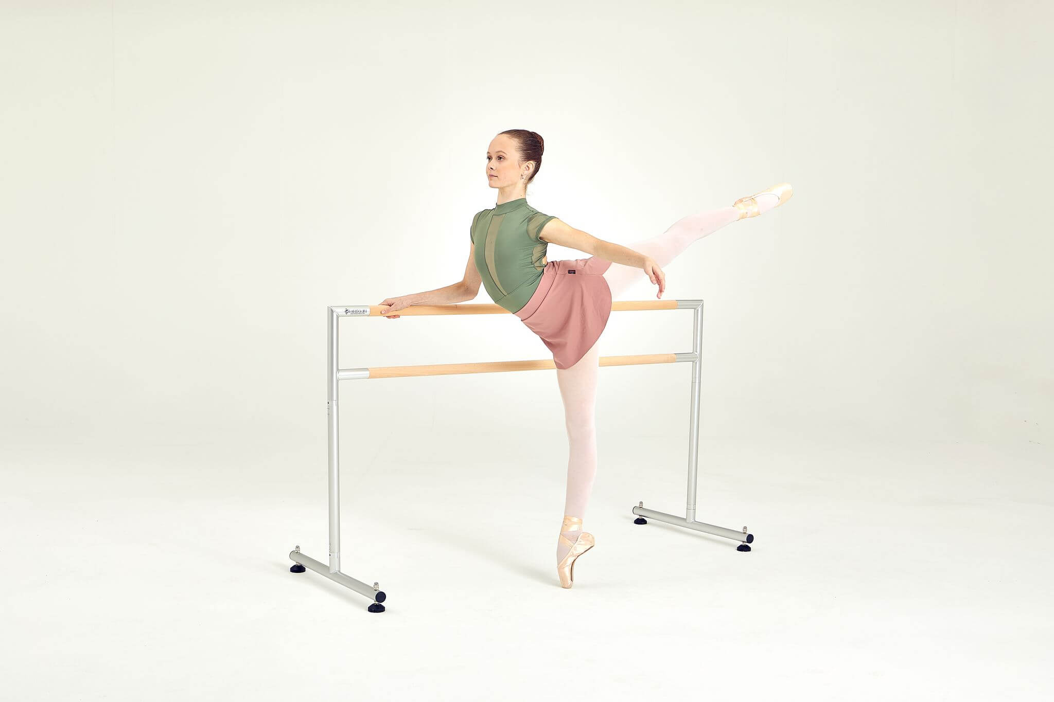 Medium Freestanding Harlequin Ballet Barre with Dancer
